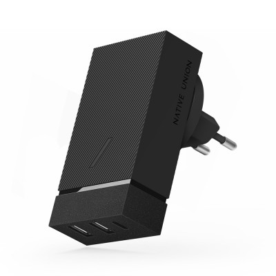 Сетевое зарядное устройство Native Union 45 Вт, 2 USB-A + USB-C, PD, серый