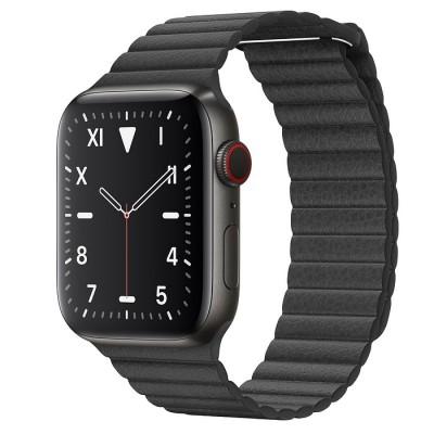 Ремешок Apple Leather Loop Black 44mm
